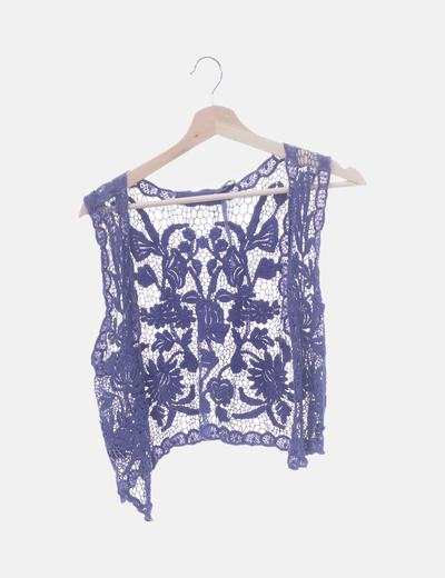 Chaleco azul crochet