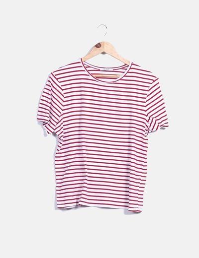Camiseta de rayas rojo y blanco Zara