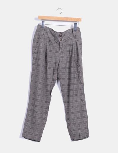 Pantalón cuadros gris con pinzas Green Coast