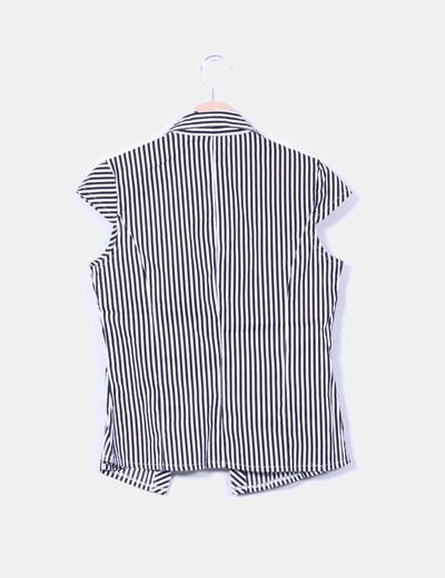 Blusa bicolor de rayas manga corta