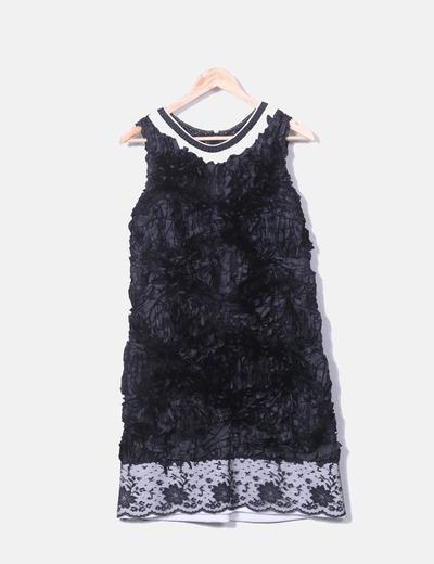 Vestido fiesta negro texturizado