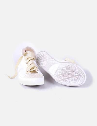 Bambas blancas combinado glitter dorado