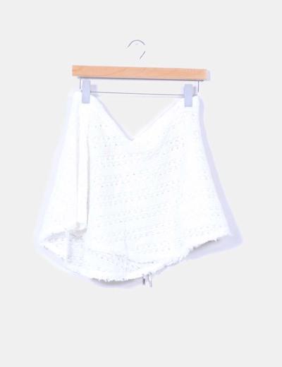 Falda blanca de rejilla playera F & P