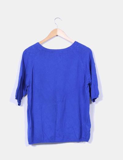 Jersey azul cuello redondo
