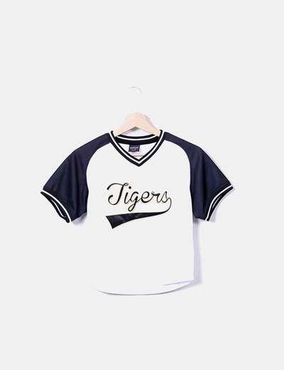 71beb96c92e1e COLOURFUL REBEL Camiseta beisbol blanco y negro (descuento 57 ...