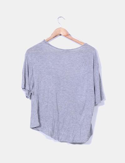 Camiseta gris oversize print corazon