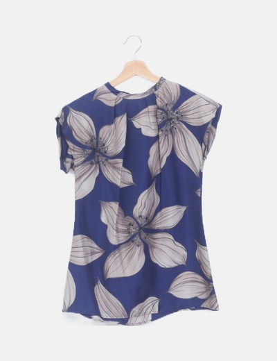 Blusa satén floral azul