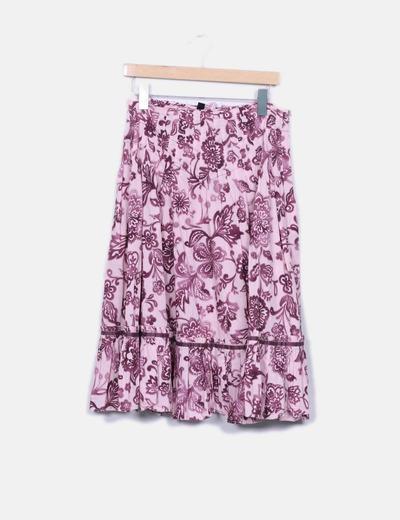 Falda midi rosa print floral Mango
