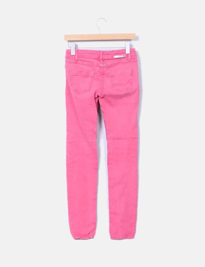 Pantalon denim color coral