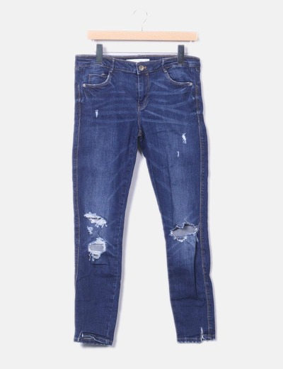 Blue denim jeans with broken Zara