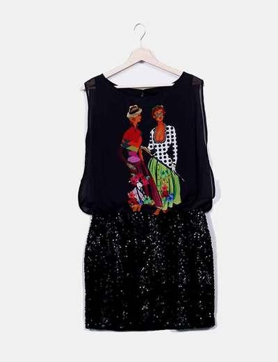Vestido combinado manga sisa con pailettes