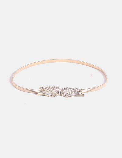 Zara Cinturón dorado elástico con alas de strass (descuento 59 ... 88327509a9d3