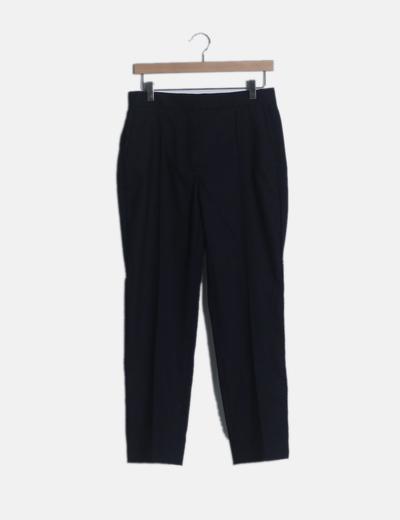 Pantalón recto pinzas azul marino