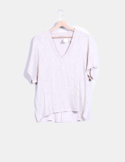 Blusa tricot combinada beige Zara