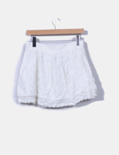 Falda mini blanca crochet