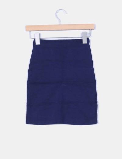 Mini falda ajustada azul marino