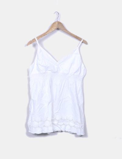 Blusa blanca tirantes con goma b. young