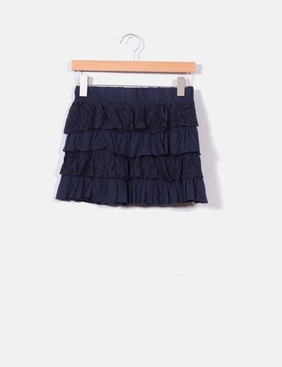 Mini falda de volantes azul marino Bershka