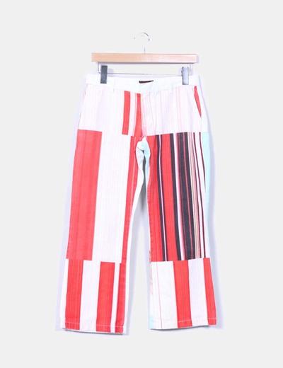 Pantalón blanco estampado y rayas Custo Barcelona