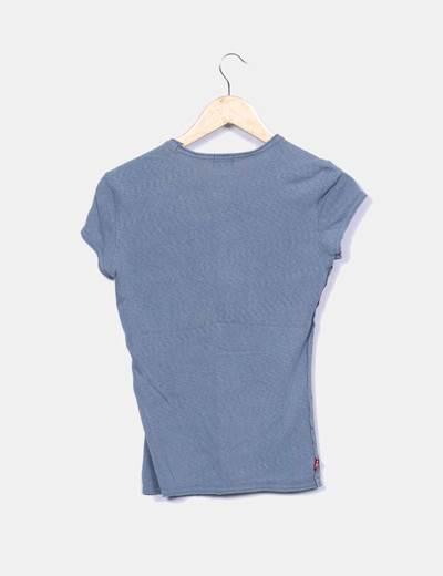 Camiseta azul print logo