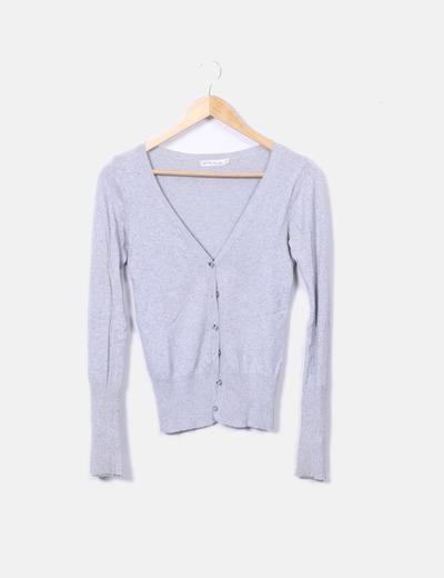 Chaqueta tricot gris básica