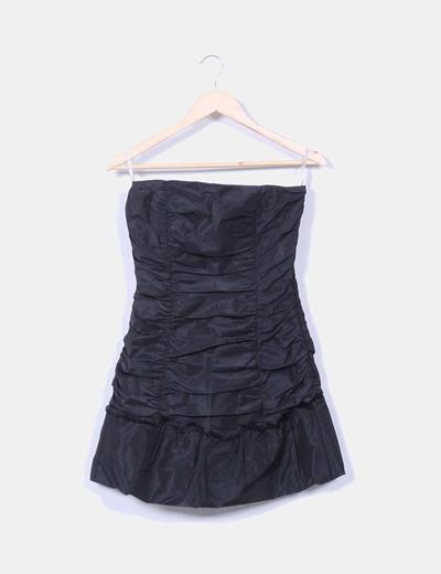 Vestido mini negro palabra de honor fruncido Oasis