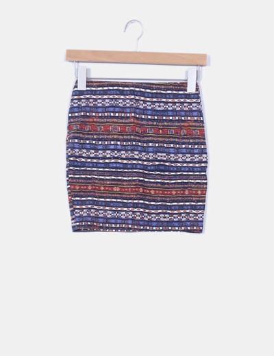 Mini falda ajustada estampado étnico Pull & Bear