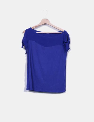 Camiseta fluida azul detalle lazos Promod