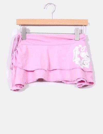 Mini-jupe rose avec volants Inside