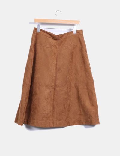 Falda midi marron de antelina