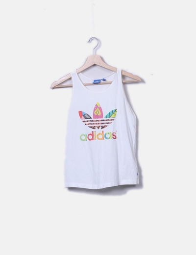 T-shirt multi-couleurs à bretelles avec imprimé Adidas