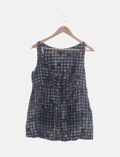 Blusa satinada gris estampada