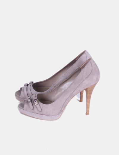 Zapatos peep toe antelina taupé Zara