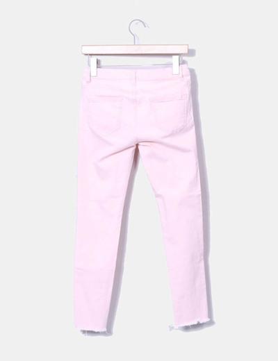 Jeans denim pitillo rosa baby
