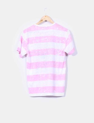 Camiseta bicoilor de rayas print