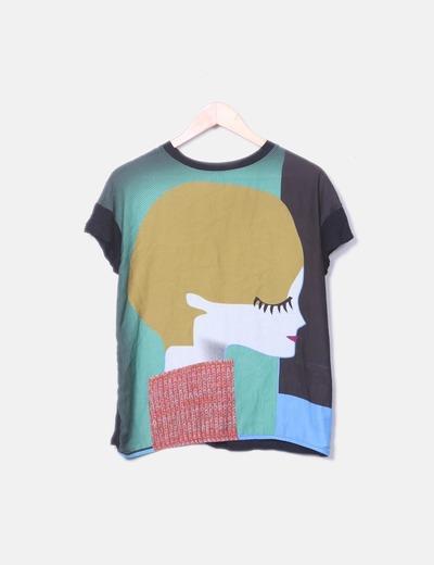 Camiseta negra print dibujo colores Zara