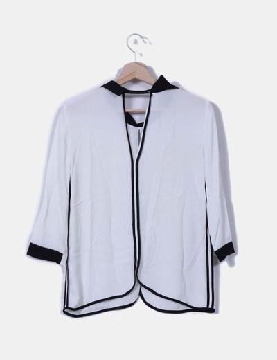Blusa de gasa bicolor