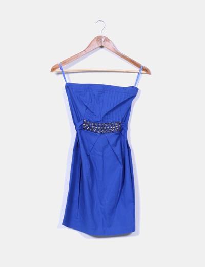 Vestido azul klein con strass Suiteblanco