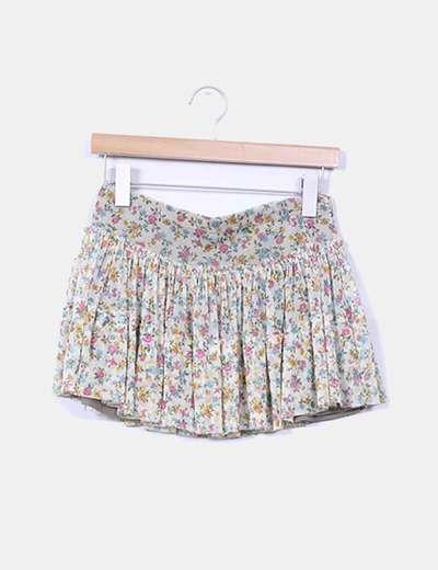 Mini falda volantes beige floral Pull&Bear