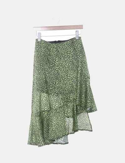 Falda pantalón verde animal print