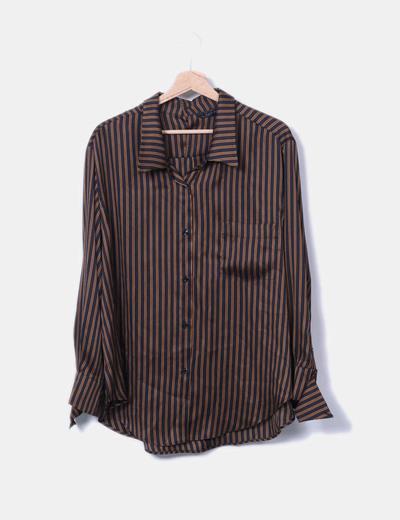 Camisa satén negra rayas naranjas Zara