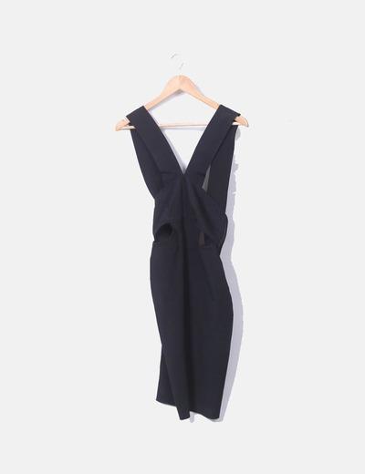 Vestido tirantes negro entallado Zara