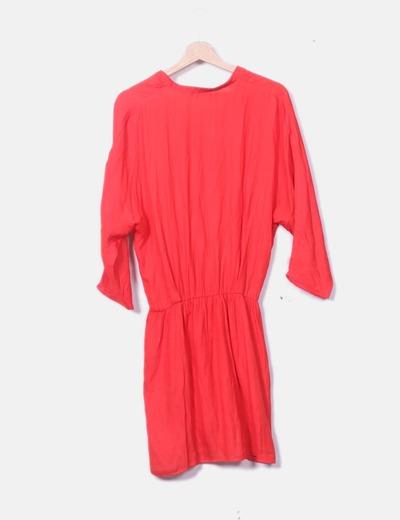 9d7ad44fbe91 Zara Robe rouge en satin col v (réduction 68%) - Micolet