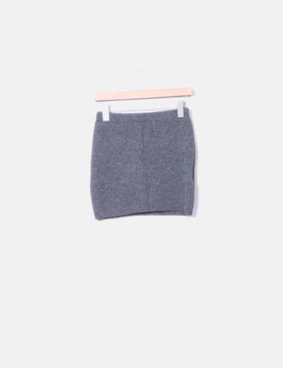 Mini falda lana gris