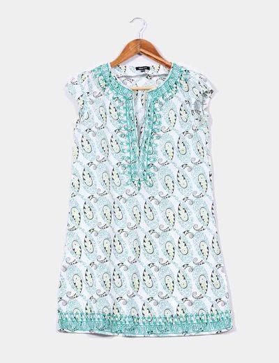 Vestido blanco con estampado cachemira verde Suiteblanco
