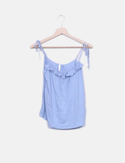 Blusa azul con encaje y detalles plisados Bershka