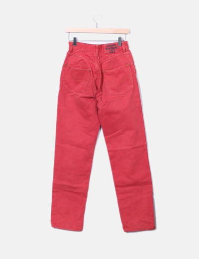 Jeans denim rojo tiro alto