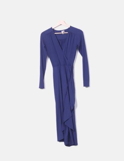 Vestido cruzado azul marino
