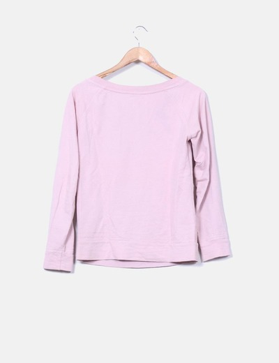 Sudadera rosa print calavera con strass