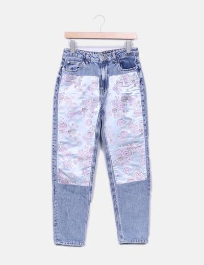 Calça jeans estampado floral Bershka